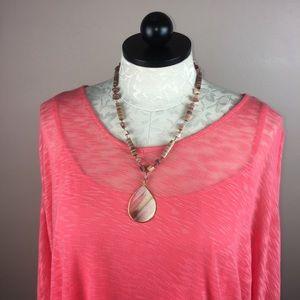 """Jewelry - Genuine Stone Beaded Peach Ivory Necklace 24"""""""